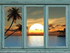 Sunset from a tropical island with palm trees and blue waters -Wall Mural- 36x48