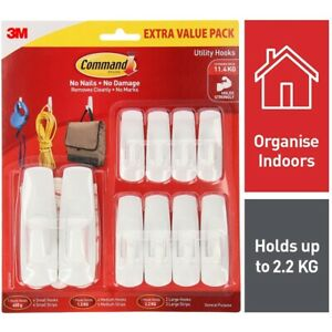 3M Command™ White Adhesive Mixed Picture Hanging Hooks & Stripes - 10 Pack