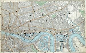 LONDON 1906 - THE CITY, CANARY WHARF & THE DOCKS, Antique Map - Bacon.
