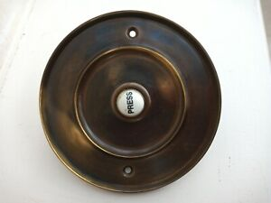 """4"""" Antique Style Aged Brass and Ceramic Door Bell Push Button  UNUSED"""