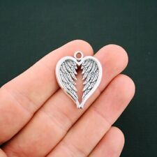 6pcs Angel Wing Heart Charms Antique Silver Tone Pendant Bead Jewellery Making