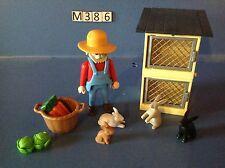 (M386) playmobil Fermier et clapier à lapin ferme ref 4491 4490