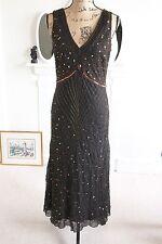 BERKERTEX 20's Black Beaded Gown Dress Sequins Bronze 12 Medium M Midi