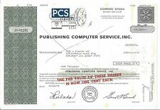 PUBLISHING COMPUTER SERVICE INC......1979 STOCK CERTIFICATE