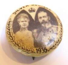 1935 Silver Jubilee Pin Pinback Button - King George V & Mary of Trec