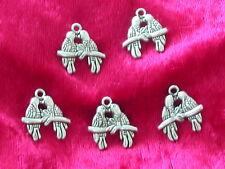 5 Anhänger Papagein Metallanhänger für Armband oder Kette Charm