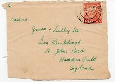 Barbados 1933 FRONT with 1 1/2 d definitive to UK