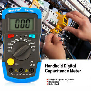 LCD Digital Capacitance Meter Capacitor Tester 1999 Counts 0.1pF to 20,000uF UK