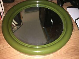 VINTAGE/RETRO 40CM GREEN ROUND BATHROOM MIRROR (EX COND)