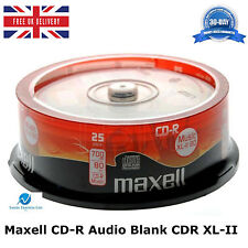 25 Pack Maxell CD-R CDR XL-II Audio Music 80 MINS Recordable Blank Discs CD's HQ