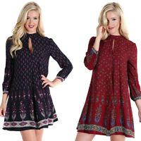 Boho Womens Navy Red Floral Lined Bohemian Flowy Chic Long Sleeve Dress S M L