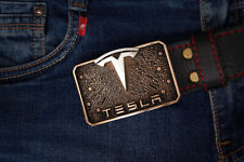 "Handmade designer leather belt ""Tesla & Elon Musk"""