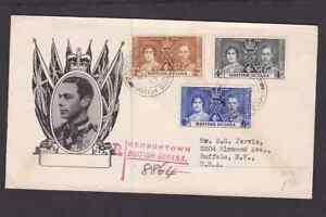British Guiana 1937 registered FDC 1st day cover to the USA KGVI Coronation #2