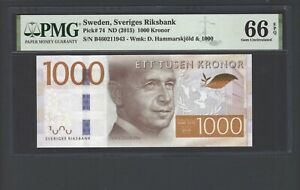 Sweden 1000 Kronor ND(2015) P74 Uncirculated Grade 66