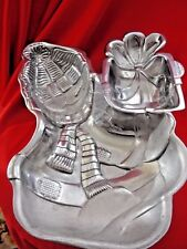 """Lenox 12.5"""" Snowman with Gift Chip and Dip DishYuletide Silver Hollow WareNice"""