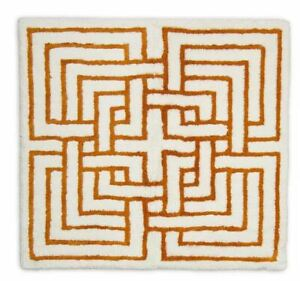 """Abyss Carla 840 Bath Rug COLOR: White/Gold 28"""" x 28"""" ~ Made in Portugal ~NWT"""