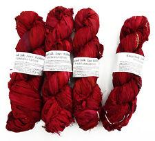 100g Recycled Sari Silk Ribbon Yarn, Jewelry Making Trim - Maroon