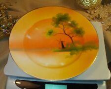 "Vintage Noritake China Hand Painted 7.5"" Dessert Pie Plate Orange w/ Windmill"
