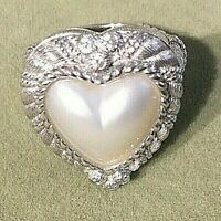 Judith Ripka Sterling Silver Heart Mabe Pearl Ring  size 6