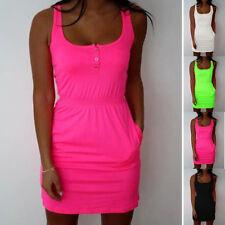 Plus Size Womens Vest Mini Dress Summer Holiday Beach Shirt Sleeveless Longshirt