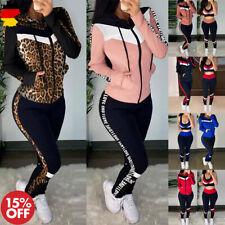 Damen 3 tlg Sportanzug Push up Bustier Leggings Pants Kapuzenjacke Freizeitanzug