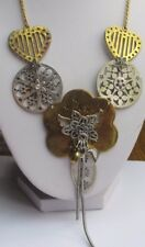 collier ancien bijou rétro couleur argent et or déco ajouré pampille fleur 2247
