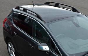 Black Aluminium Roof Rack Rails Side Bars Set To Fit Peugeot 3008 (2008-16)
