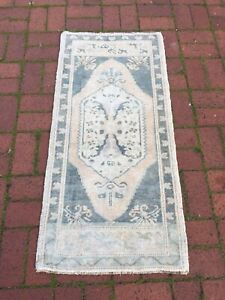 Small Muted Vintage 2x3.9 ft Tribal Blue Entryway Kitchen Oriental Rug Carpet