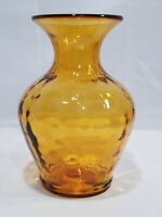 "Vintage Amber Hand Blown Art Glass Vase with Thumbprint Dimples Indent 8"" Tall"
