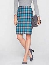 TALBOTS Gray Teal Chelsea Plaid Pencil Skirt 14P NWT Women (MSRP $109)