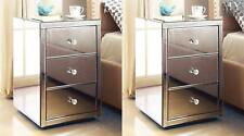 (PAIR) ROMA Mirror bedside table chest 3 drawer - Mirrored Furniture
