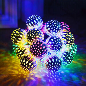6M LED Moroccan Ball Garden String Fairy Lights Hanging Lantern Lamp Outdoor