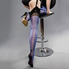 PERFECT GIO FULL CONTRAST FF Stockings Electric Blue Seamed with Black 12.5 XXL