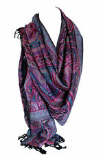 Paisley Ethnic Print Pashmina Feel Wrap Shawl Scarf Scarves Hijab in Rich Colour