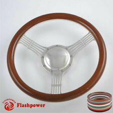 15.5'' Billet Steering Wheels Wood half wrap Banjo GM Corvair Impala Chevy II