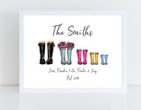 Personalised Welly Boot Family Print - Welly family - Optional Frame
