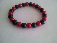 Glass Pearl Black, Pearl Red Beaded Stretch Bracelet