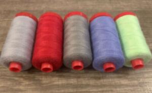 5x Aurifil Lana Wool Thread 12wt 383 yds   50% Acrylic / 50% Wool A1