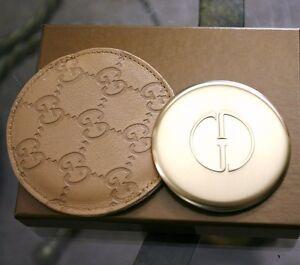 New GUCCI Beige/Tan Compact Mirror Guccissima Leather Pouch&Box 263560 9964