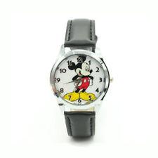 Mouse Mickey Watch Disney Kids Children Leather Cartoon Boy Wristwatch Black
