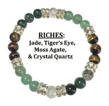 Riches: Jade, Moss Agate, & Tigers Eye Stretch Bracelet w Free Shipping/Hnd