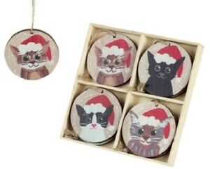 Set of 8 Festive Wooden Cats in Hats Christmas Hanging Decorations 6x6cm