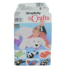 Simplicity 8932 Crafts Pillow Animals Sewing Pattern Dog Panda Cow Dinosaur Cat