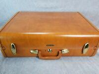 Vintage Samsonite Suitcase Men's Quick Tripper #4632 Saddle Tan w/ Key & Box EUC