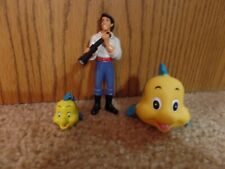 Lot of 3 Disney Little Mermaid Eric and 2 Flounder Figures Cake Topper