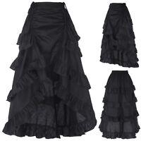 Womens Long Retro Vintage Gothic Victorian Style Costume Fancy Dress Black SKIRT