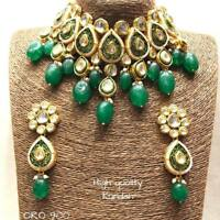 Traditional High Quality Kundan Choker Style Green Beads Necklace Jewelry Sets-