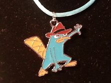 Green & Orange Perry The Platypus Pendant on Blue Satin Cord w/Lobster Clasp