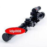 4X20 Optics Scope+20mm Rail Mounts+Red Laser Sight For Air Gun Rifle Hunting