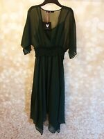 Very Green Shirred Waist Woven Dress Size 12 New With Tags